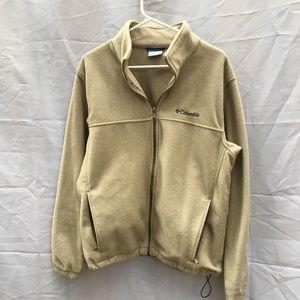 Columbia Beige Mens Large full zip fleece jacket